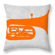 Orange Tuba Throw Pillow by Naxart Studio