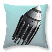 Orion-drive Spacecraft With Solid-fuel Throw Pillow by Rhys Taylor