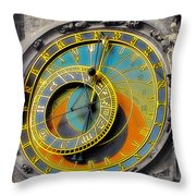 Orloj - Astronomical Clock - Prague Throw Pillow by Christine Till