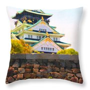 Osaka Castle - Painterly - 40d17138 Throw Pillow by Wingsdomain Art and Photography