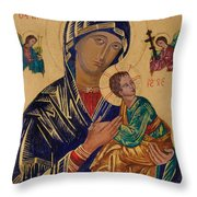Our Mother Of Perpetual Help Throw Pillow by Camelia Apostol