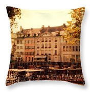 Outdoor Cafe in Lucerne Switzerland  Throw Pillow by Susanne Van Hulst