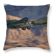 P-38 Gear Up Throw Pillow by Tim Mulina