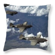 P-40 Pursuits Of The U.s. Army Air Throw Pillow by Luis Marden