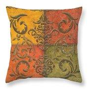 Paprika Scroll Throw Pillow by Debbie DeWitt