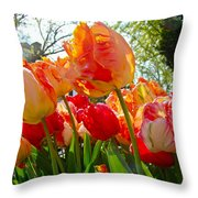 Parrot Tulips in Philadelphia Throw Pillow by Mother Nature