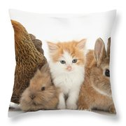 Partridge Pekin Bantam With Kitten Throw Pillow by Mark Taylor