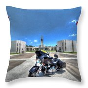 Patriot Guard Rider At The Houston National Cemetery Throw Pillow by David Morefield