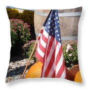 Patriotic Farm Stand Throw Pillow by Kimberly Perry