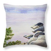 Peaceful Place Morning At The Lake Throw Pillow by Irina Sztukowski