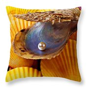 Pearl In Oyster Shell Throw Pillow by Garry Gay