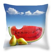 Pears And Melon Throw Pillow by Carlos Caetano