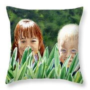 Peekaboo Throw Pillow by Irina Sztukowski