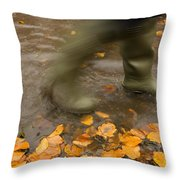 Person In Motion Walks Through Puddle Throw Pillow by John Short