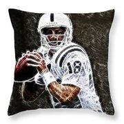 Peyton Manning 18 Throw Pillow by Paul Ward
