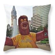 Phanatic Love Statue In The City Throw Pillow by Alice Gipson