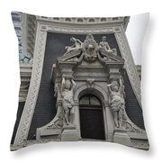 Philadelphia City Hall Window Throw Pillow by Bill Cannon