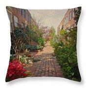 Philadelphia Courtyard - Symphony Of Springtime Gardens Throw Pillow by Mother Nature