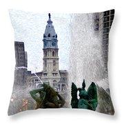 Philadelphia Fountain Throw Pillow by Bill Cannon