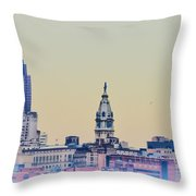 Philadelphia From South Camden Throw Pillow by Bill Cannon