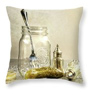 Pickle With A Jar And Antique Salt And Pepper Shakers Throw Pillow by Sandra Cunningham