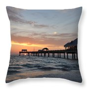 Pier 60 Clearwater Beach Florida Throw Pillow by Bill Cannon