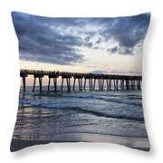 Pier in the Evening Throw Pillow by Sandy Keeton