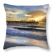 Pier Lights Throw Pillow by Debra and Dave Vanderlaan