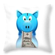 Piggy Bank Throw Pillow by Setsiri Silapasuwanchai