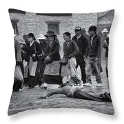 Pilgrim Prostration Throw Pillow by Joan Carroll