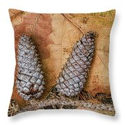 Pine Cones And Leaves Throw Pillow by Deborah Benoit