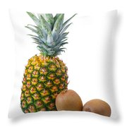 Pineapple And Kiwis Throw Pillow by Carlos Caetano