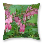 Pink Bleeding Heart Flowers - Dicentra Spectabilis Throw Pillow by Mother Nature