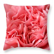 Pink Carnation Throw Pillow by JD Grimes
