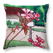 Pink Geranium Sketchbook Project Down My Street Throw Pillow by Irina Sztukowski