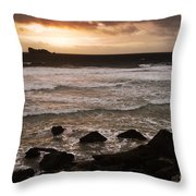 Pink Granite Coast At Sunset Throw Pillow by Heiko Koehrer-Wagner