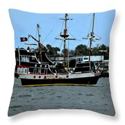 Pirate Ship Of The Matanzas Throw Pillow by DigiArt Diaries by Vicky B Fuller