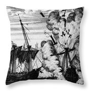 Pirate Ships Throw Pillow by Granger