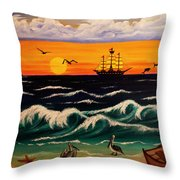Pirate's Cove Throw Pillow by Adele Moscaritolo