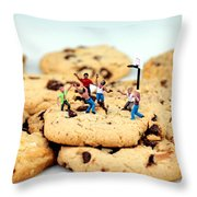 Playing basketball on cookies Throw Pillow by Paul Ge