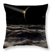 Pluto Seen From The Surface Throw Pillow by Ron Miller