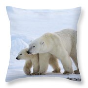 Polar Bear Ursus Maritimus And Cub Throw Pillow by Suzi Eszterhas