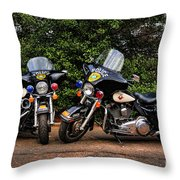 Police Motorcycles Throw Pillow by Paul Ward