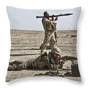 Polish Soldiers Prepare To Fire Throw Pillow by Stocktrek Images