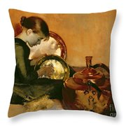 Polishing Pans  Throw Pillow by Marianne Stokes