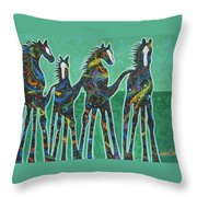 Pony Pastures Throw Pillow by Lance Headlee