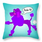 Poodle Fart Throw Pillow by Jera Sky