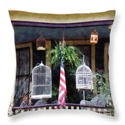 Porch With Bird Cages Throw Pillow by Susan Savad