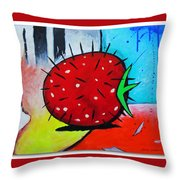 Porcupine Strawberry Throw Pillow by Snake Jagger
