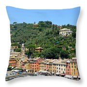 Portofino Hillside Throw Pillow by Corinne Rhode
